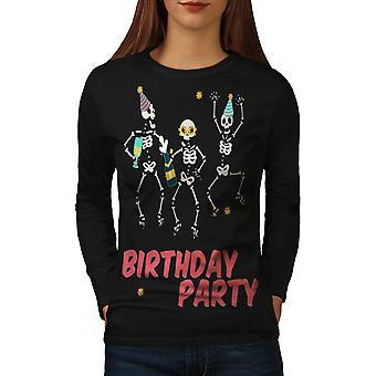 Happy Skeleton Women BlackLong Sleeve T-shirt | Wellcoda
