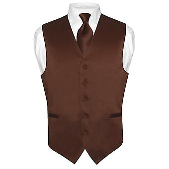 Men's Dress Vest & NeckTie Solid Neck Tie Set for Suit Tux