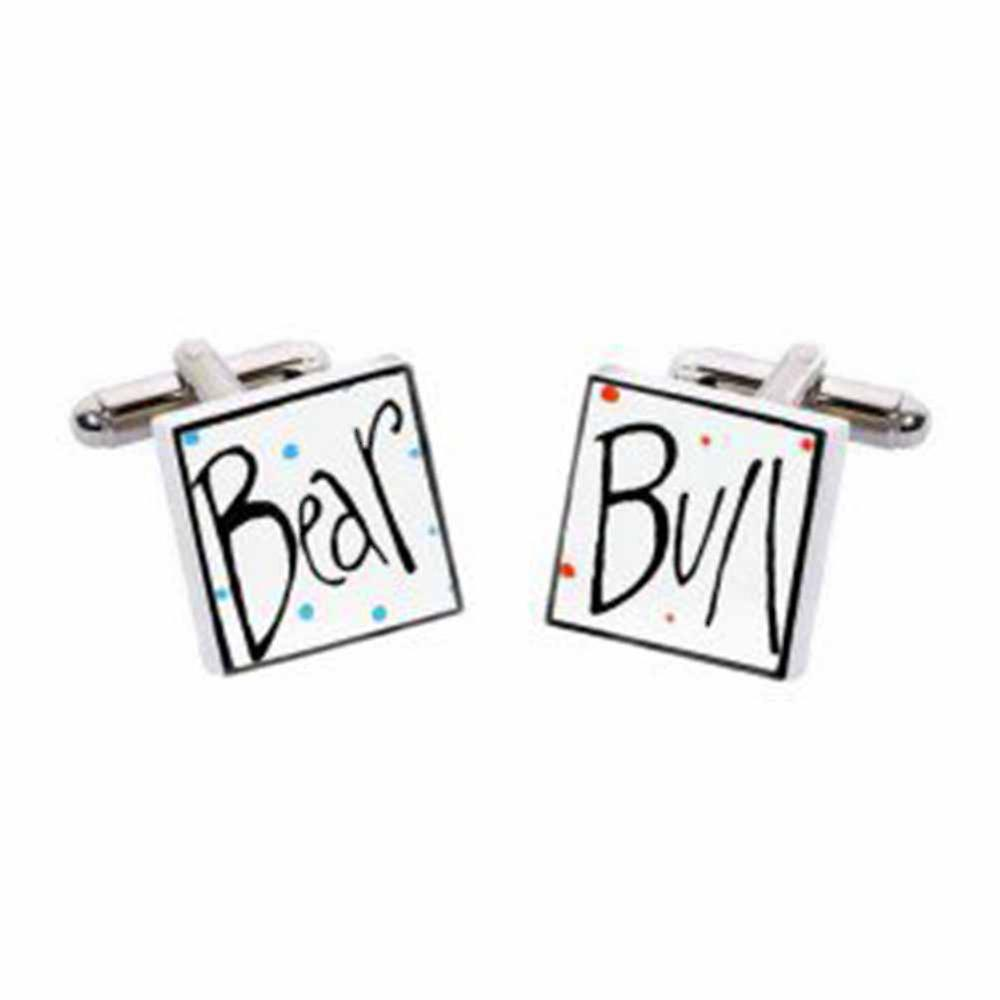 Bull and Bear Cufflinks by Sonia Spencer, in Presentation Gift Box. Hand painted