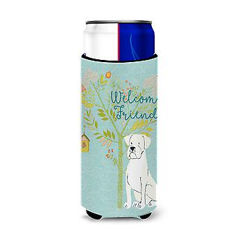 Welcome Friends White Boxer Michelob Ultra Hugger for slim cans