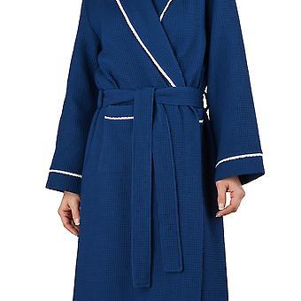 Slenderella HC1301 ženy ' s Waffle námorníctvo šatka loungewear kúpeľňové rúcho housecoat župan