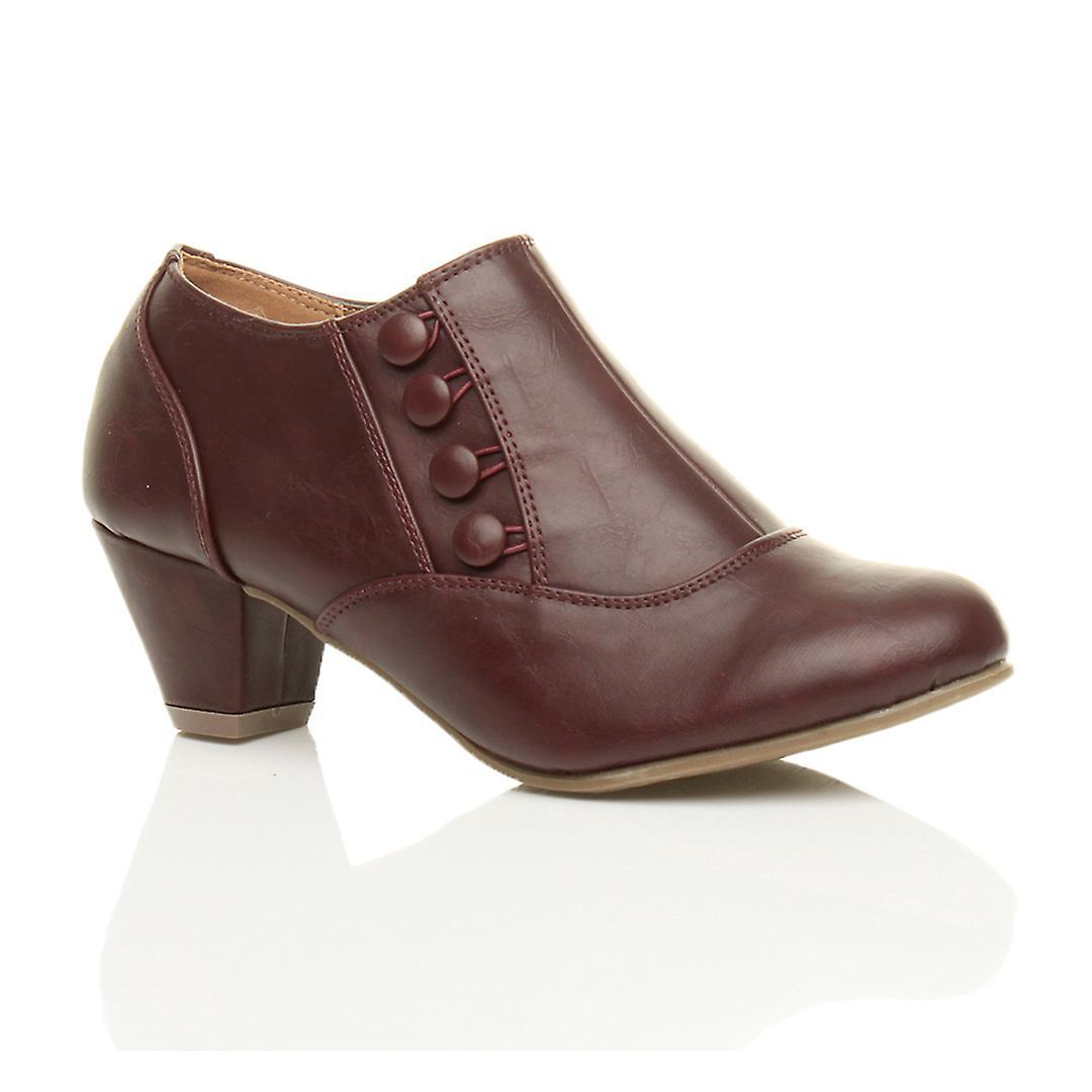 Ajvani womens low mid heel buttons zip smart work ankle shoe boots booties RGUa5