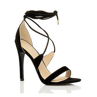 Ajvani womens hauts talon à peine il strappy tie lace up chaussures sandales