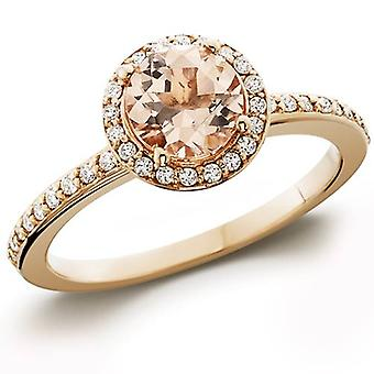 7 / 8ct Morganit & Diamond Halo Verlobungsring 14K Rose Gold
