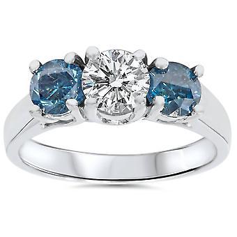 1 3 / 4ct blå & White Diamond tre sten 14K vitguld förlovningsring