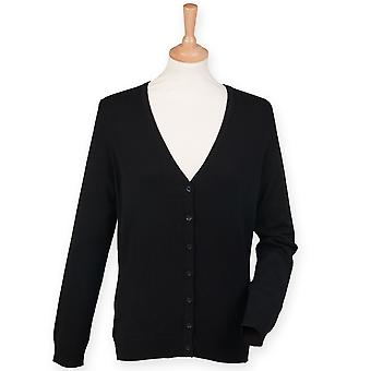 Henbury Ladies V-Neck knappen upp Cardigan