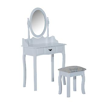 HOMCOM Wooden Dressing Table Vanity Set Makeup Shabby Chic Vintage Style Jewelry Cosmetic Storage Drawer Padded Seat w/Mirror & Stool (White)