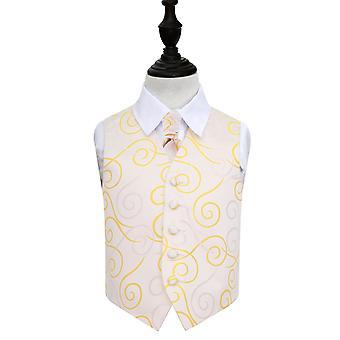 Gull bla bryllup vest & Cravat sett for gutter