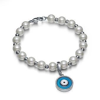 Amulet Positive Powers Simulated Pearl White Royal Blue Evil Eye ProtectiMagic Energy Bracelet