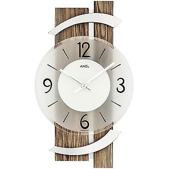 AMS 9545 wall clock quartz analog modern colours with aluminium wood Walnut