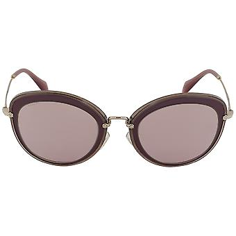 Miu Miu Round Sunglasses SMU50RS TKW4M2 54 | Purple Frame | Gold Mirror Lenses