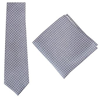 Knightsbridge Krawatten überprüfen, Krawatte und Einstecktuch Set - grau