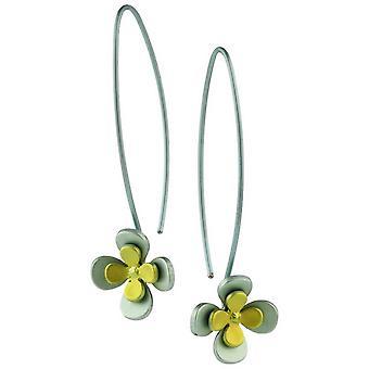 TI2 titanio doppio quattro petalo fiore orecchini - giallo