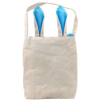 TRIXES Pasqua coniglietto blu orecchie tela Carry Bag partito coniglio divertente accessorio