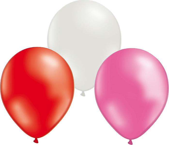Ballonger mix 24-pack Röd/Vit/Rosa