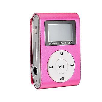 Compacto reproductor de MP3 con micrófono, rosa