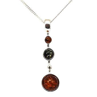 TOC Sterling Silver Pendulum Shaped Amber Pendant on 18 Inch Chain