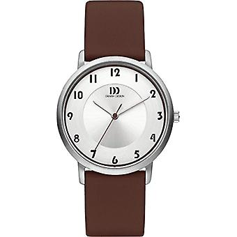 Danish Designs DZ120422 quartz watch with white dial and brown leather strap analog display