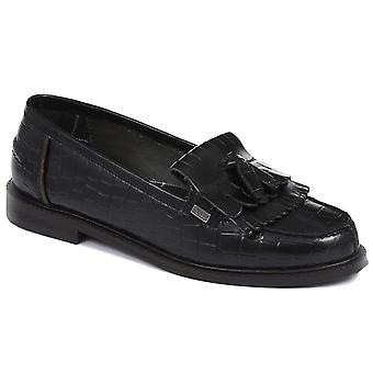 Womens Barbour Olivia Leather Black Work Office Smart Flat Loafers Shoes