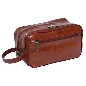 Ashwood Leather Chelsea Veg Tan Leather Wash Bag - Chestnut