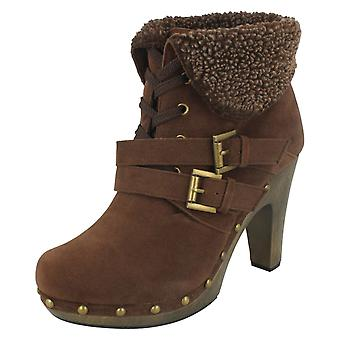 Ladies Spot On Platform Heeled Boots