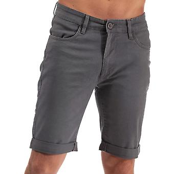 Mens Crosshatch Black Label Cottrell Chino Shorts In Charcoal- Zip Fly- Turn Up