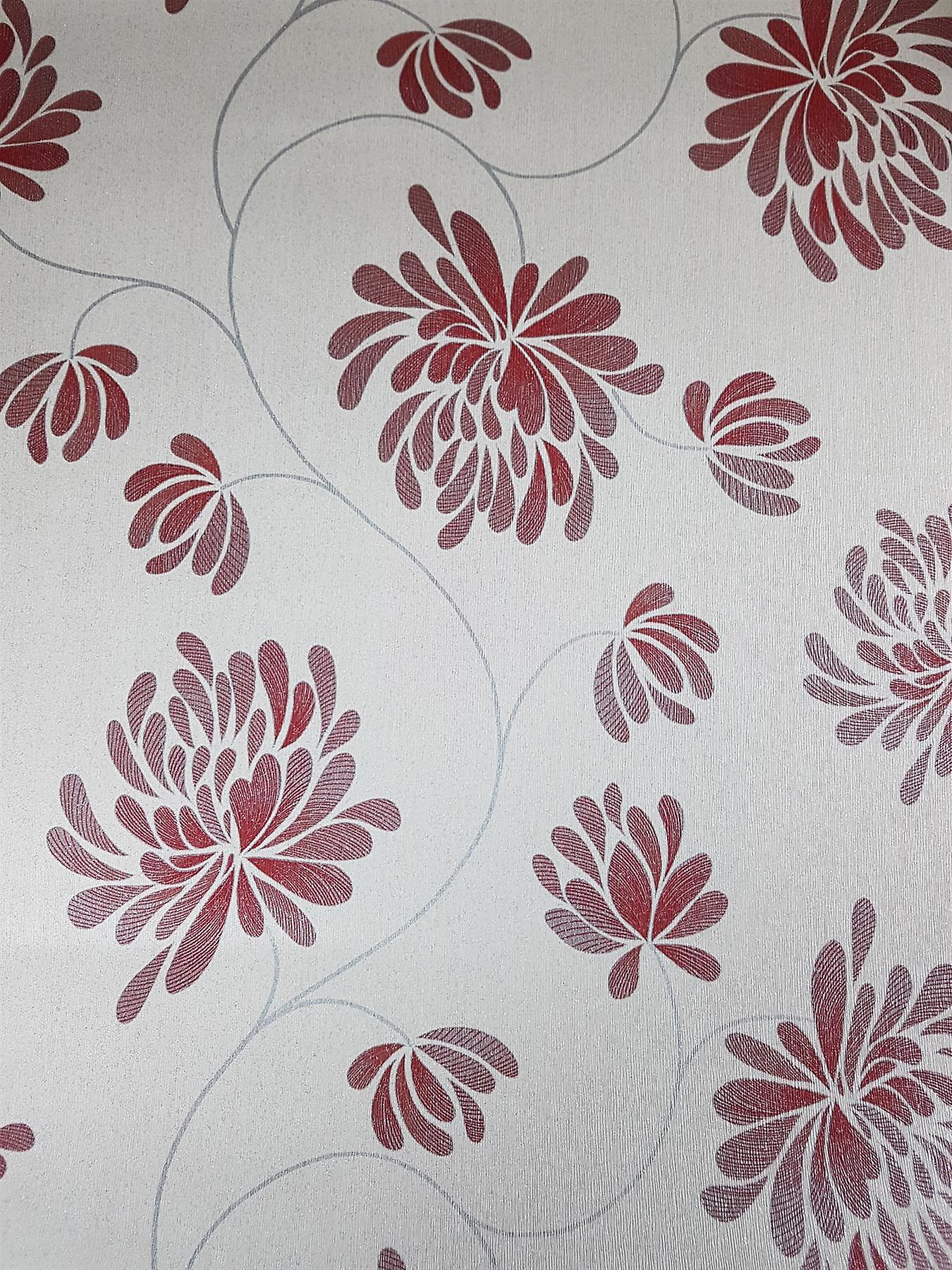 Red Floral Trail Glitter Wallpaper Foliage Silver Shimmer Washable