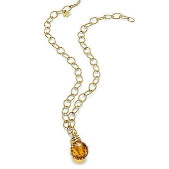 Just Cavalli Boule goud en Amber stenen ketting