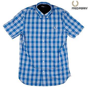 Camisa de manga curta da M8273-969 Fred Perry Tartan Gingham Mix masculino