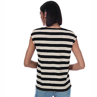 Womens Vero Moda Ashlee Striped Jersey T-Shirt In Black / Birch