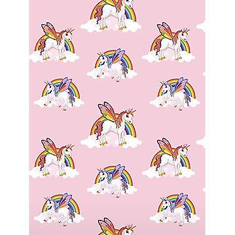Rainbow Unicorns tapet rosa 6303