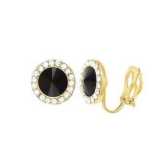 Eternal Collection Elfin Jet Black Austrian Crystal Gold Tone Stud Clip On Earrings