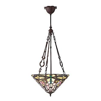 Ashton medio Tiffany estilo invertido tres luz techo colgante - interiores 1900 70740