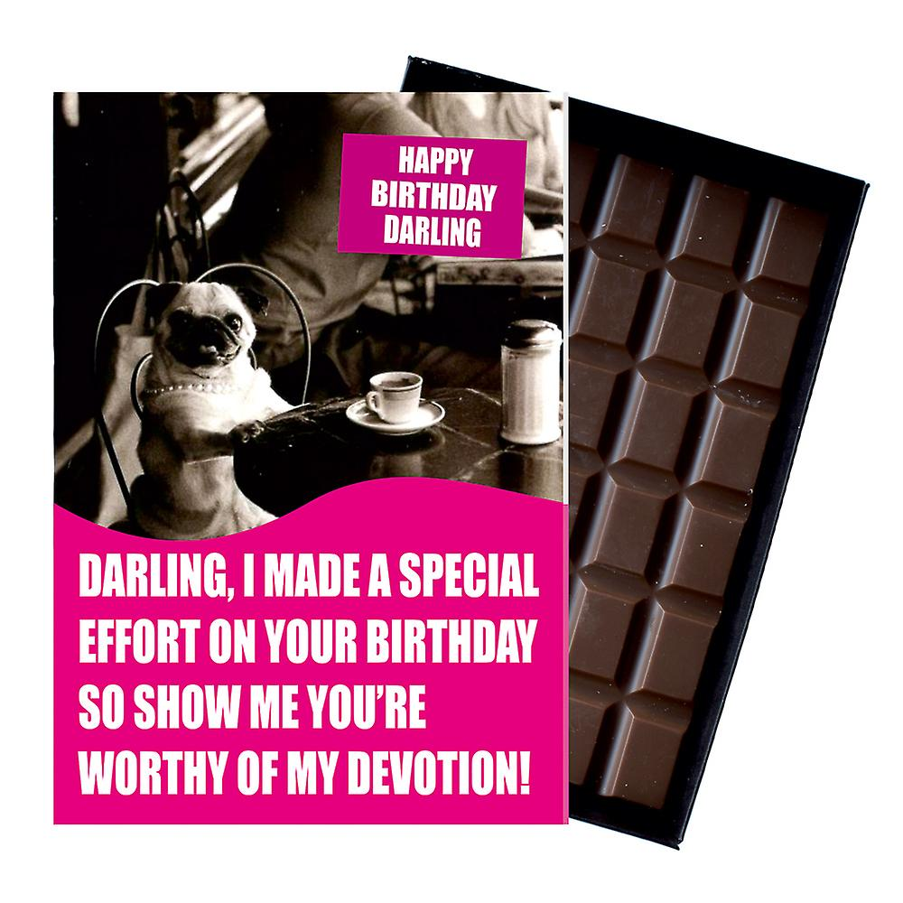 Funny Pug Themed Birthday Gift for Dog Lover Boxed Chocolate Greeting Card Present CDL134