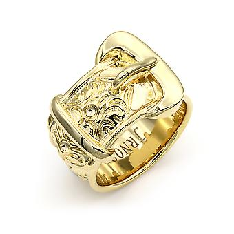 Jewelco London Mens Flash-plated Solid Brass Heavy Weight Single Buckle Ring 20mm Size Z+1