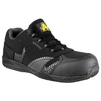 Amblers Safety Mens FS29C Waterproof Metal Free Non Leather Safety Trainer Black