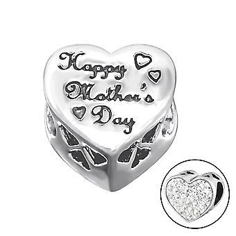 Happy Valentinstag Herz - 925 Sterling Silber jeweled Perlen - W10080X
