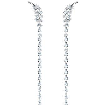 Swarovski Nice Pierced Earrings - White - Rhodium Plated - 5493406
