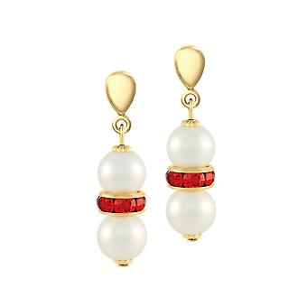 Eternal Collection Kaleidoscope Red Crystal Shell Pearl Gold Tone Drop Clip On Earrings