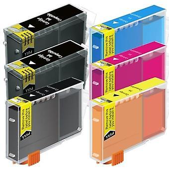 BCI-3 Black / Bci-6 Colours Compatible 6 Inkjet Cartridge Set