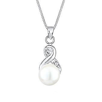 Search Necklace with Women's Pendant in Silver 925 with Swarovski Crystals and Pearl Cultivated D'Sweet Water