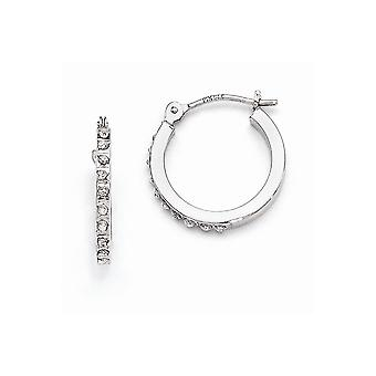 14k White Gold Hinged Polished Diamond Fascination Leverback Hoop Earrings Jewelry Gifts for Women