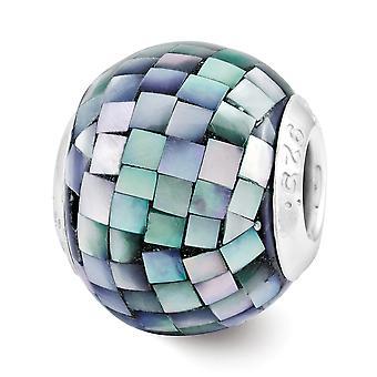 925 Sterling Silber poliert Finish Reflexionen schwarz simuliert emittiert Perlmutt Mosaik Perle Charm Anhänger Halskette Juwel