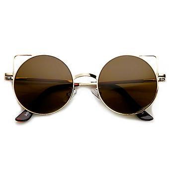 Womens thin Metal Cut-Out geometrische Runde Cat Eye Sonnenbrille