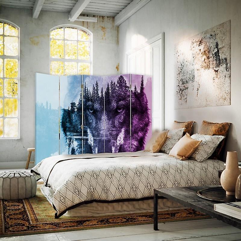 Diviseur de chambre, 5 panneaux, toile, loup sur le fond de forêt - pourpre