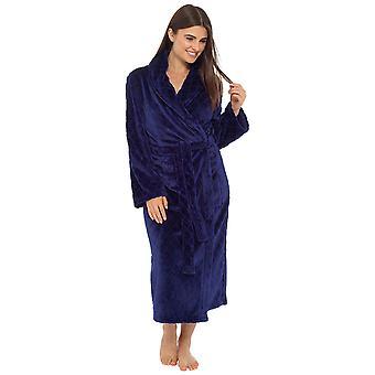 Ladies Embossed Shawl Collar Design Fleece Nightwear Bathrobe Dressing Gown