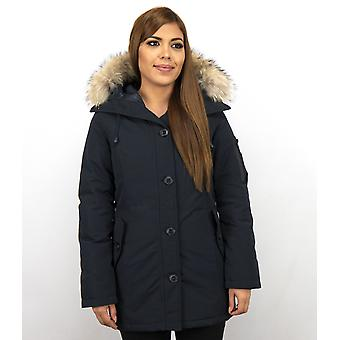 Long Parka Coat - With Fur Collar - Blue