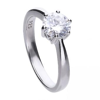 Diamonfire Silver White 6 Claw Solitaire Zirconia Ring R3621