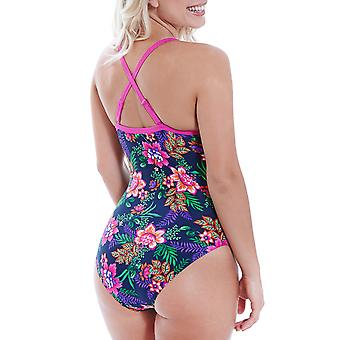 Zoggs Womens Tropical Garden Crossback Floral Swimming Swim Swimsuit Costume