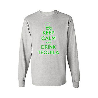 Men's Keep Calm and Drink Tequila Camisa de manga comprida